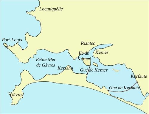 Carte de la petite mer de Gâvres